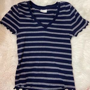 Lettuce Navy Striped Top